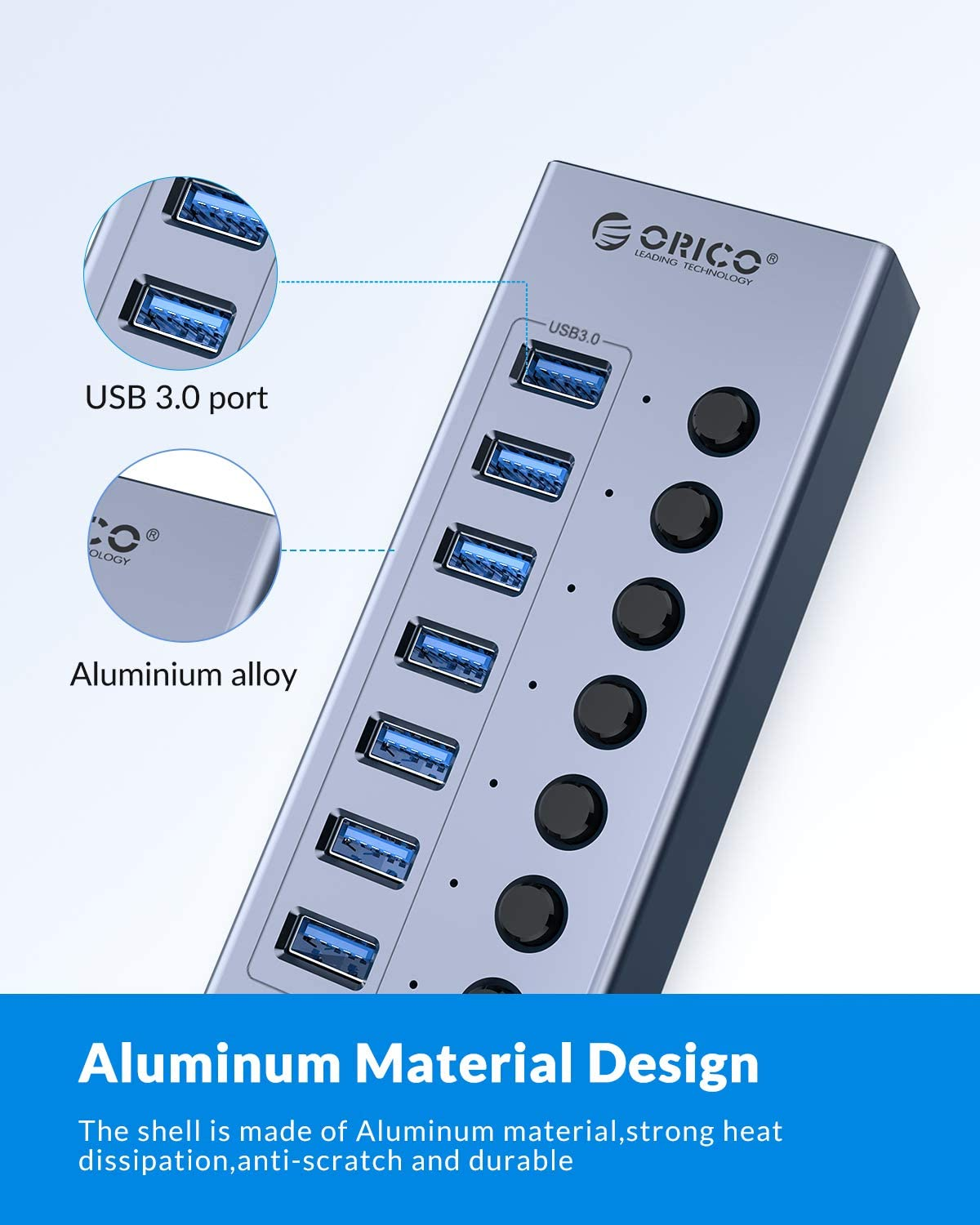 ORICO USB 3.0 Hub Powered 7 Ports USB Data Hub with Individual On/Off Switches and12V Power Adapter Support BC1.2 Charging, USB Extension for iMac Pro, MacBook Air/Mini, PS4, Surface Pro, PC, HDD: Computers & Accessories