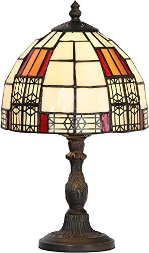 Bieye L10728 Color Block Tiffany Style Stained Glass Table Lamp with 8-inch Wide Lampshade for Bedside Bedroom Living Room, 13 H