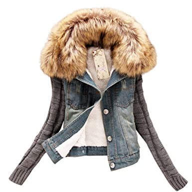 cfb0df100954c Dora Bridal Women s Sherpa Lined Denim Jacket Classy Casual Jeans Knitted  Sleeves Coats Outwear Detachable Fake