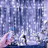 Cortina de Luces LED USB, 3m*3m 300 LED 8 Modos de Luz de Cortina con Control Remoto y 4 Modo de Música,IP67 Impermeable,Cade