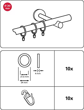 Gardinia Gardinenringe Für Gardinenstangen Mit 20 Mm Durchmesser Inklusive Gleiteinlage