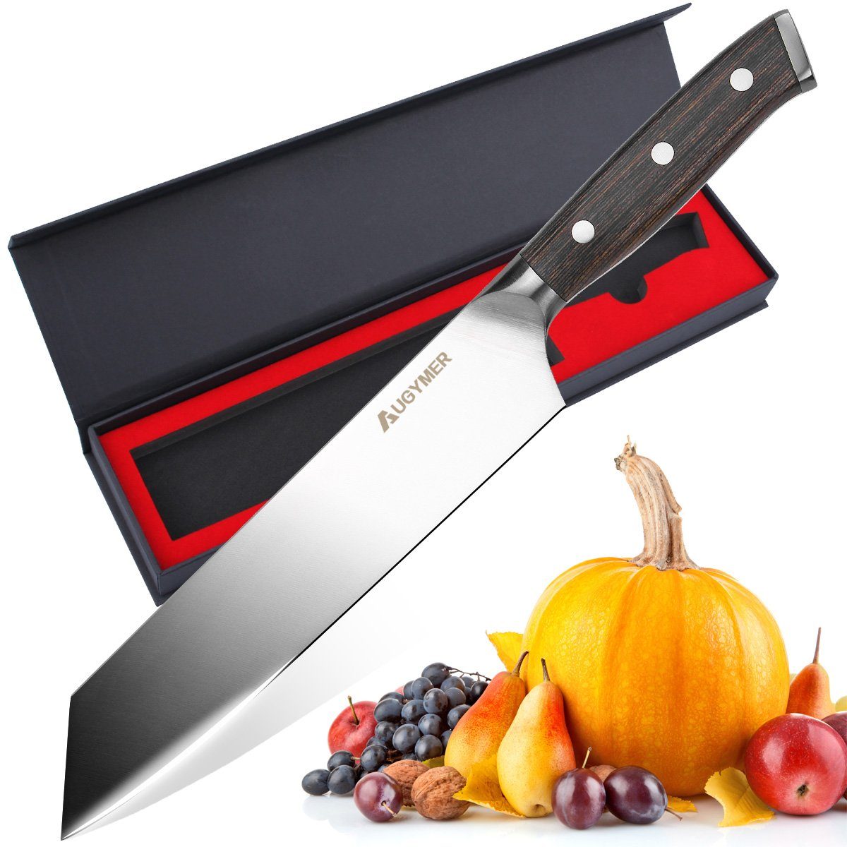 Chefs Knife, AUGYMER 8.5 Inch Professional Chef Knife German High Carbon Stainless Steel Full Tang Sharp Wood Handle Kitchen Knives with Gift Box (AUCK806)