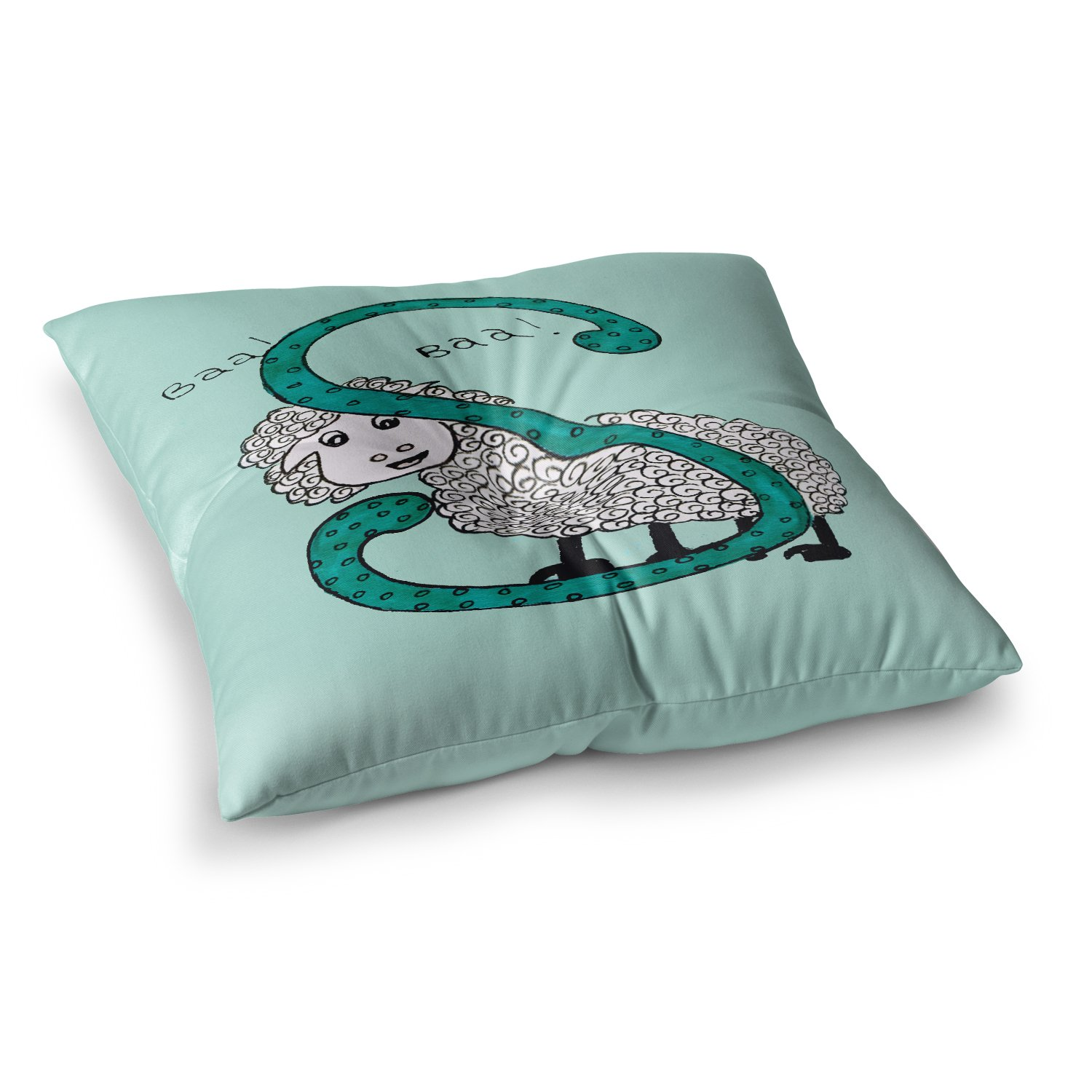 23 x 23 Square Floor Pillow Kess InHouse Rosie Brown Sis for Sheep Blue Teal