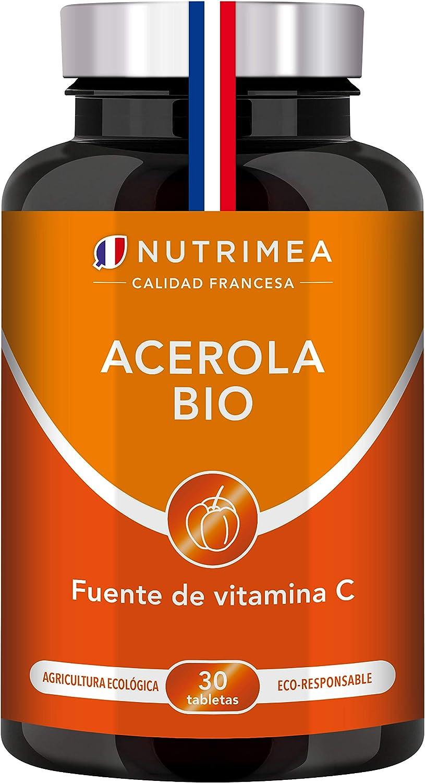 Vitamina C 1000 mg Acerola Orgánica Natural | Resfriados Gripes Refuerza Defensas Antioxidante Reduce Fatiga Forma Colágeno | Para Veganos Sin Gluten Sin Lactosa Sin Alérgenos Fabricado en Francia