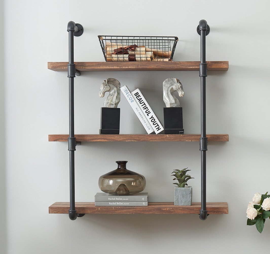 Amazon Com O K Furniture 3 Tier Vintage Industrial Pipe Wall Shelf