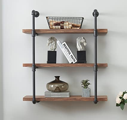 amazon com o k furniture 3 tier vintage industrial pipe wall shelf rh amazon com mounting wall shelves bracketed wall shelves
