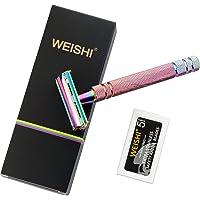 WEISHI Rainbow Colour Butterfly Open Long Handle Double Edge Safety Razor Premium Multi-Colour DE Razor