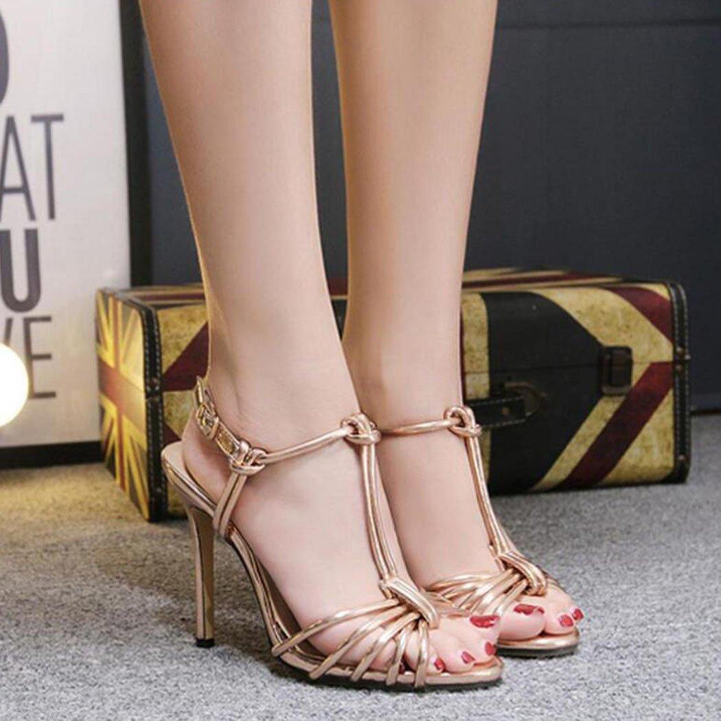 LOHU Open Toe High Heels Sommer Sommer Sommer Damen Stiletto Heels Römische Sandalen Schwarzes Gold Silber Gold 37EU 0139bf