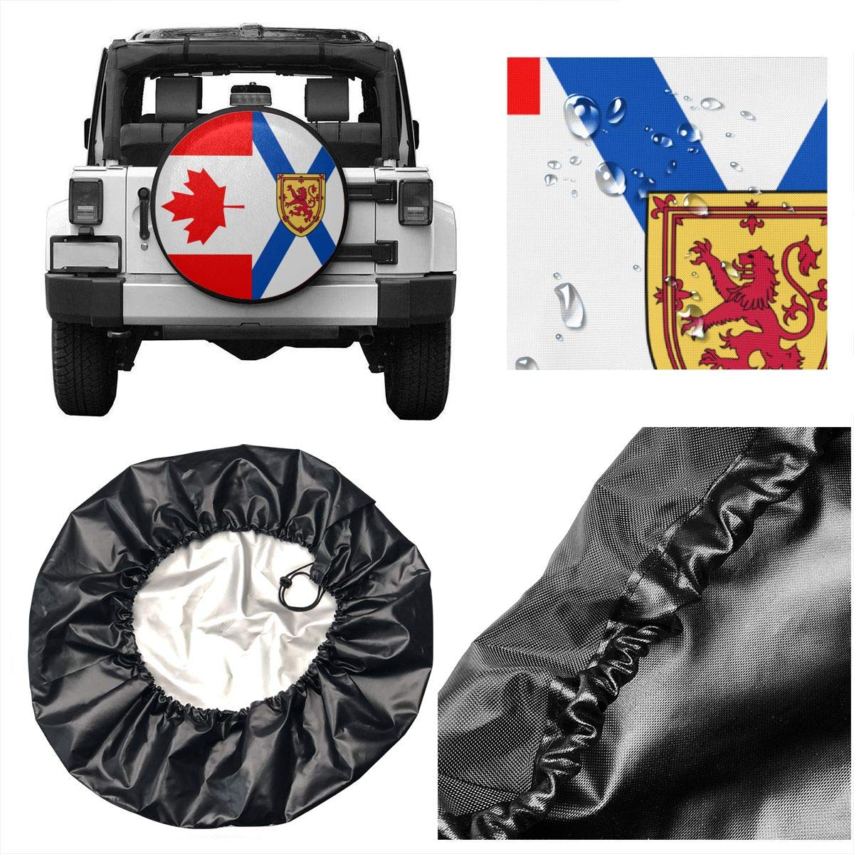 SUV and Many Vehicle 14 15 16 17 RV Nova Scotia Flag and Canada Flag Spare Wheel Tire Cover Waterproof Dust-Proof Fit for Trailer
