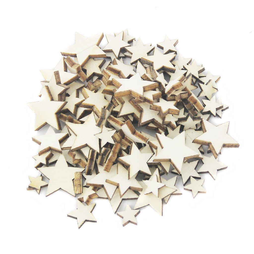 100pcs Tamaño Clasificado De La Estrella De Madera Natural En Mal Estado Llano Del Libro De Recuerdos De Artesanía Elegante STK0155001329