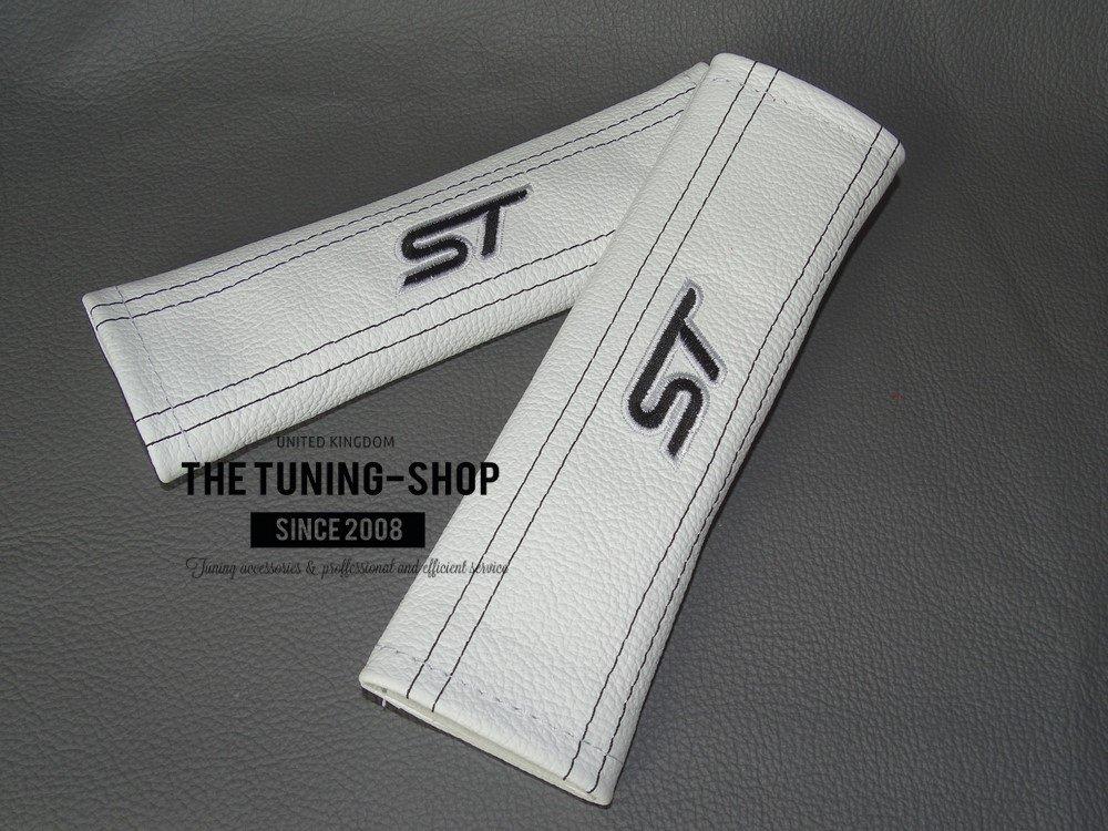 2/x couvertures de ceinture de s/écurit/é Coussinets Cuir Blanc ST Noir /à broder