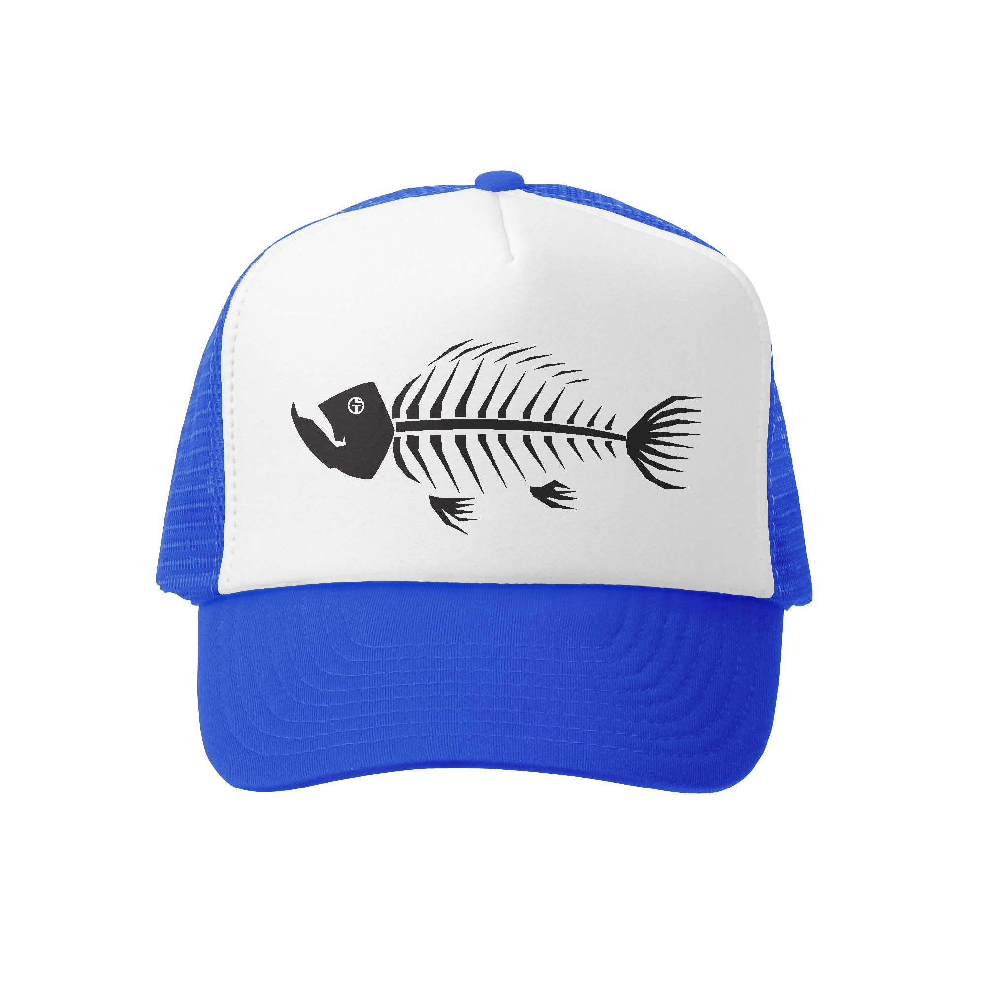 Grom Squad Kids Trucker Hat - Mesh Adjustable Baseball Cap for Boys & Girls - Baby, Infant, Toddler, School-Age Sizes (0-2yrs (Mini), Fish Bones 2.0 by Grom Squad