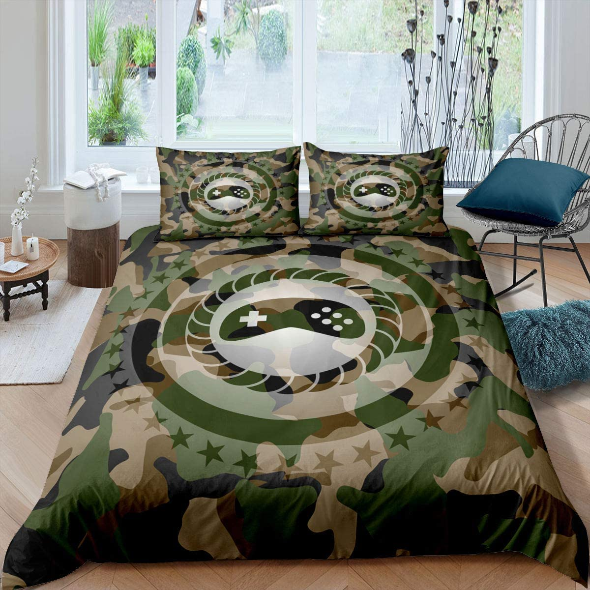 Camo Gamer Duvet Cover Set, Boys Teens Gamepad Comforter Cover Digital,Pixel Effect Modern Design Camouflage Kids Game Room Decorative Youth Bedding Set with 1 Pillow Sham,Twin Size, ArmyGreen