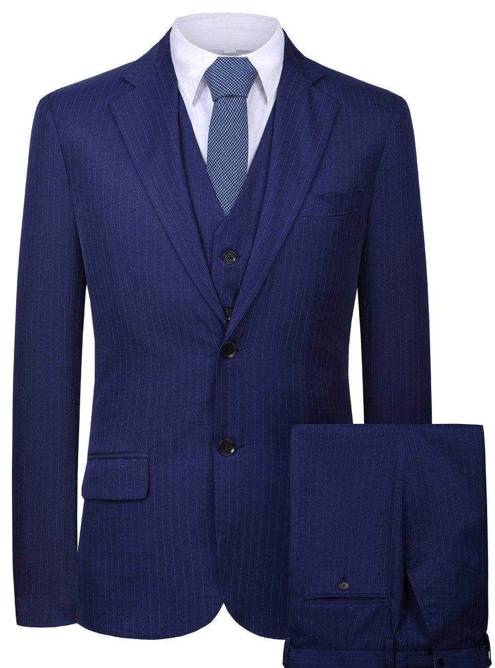 CMDC Men's 3 Pieces Business Suits Slim Fit Stripe Blazer Jacket Vest Pants Set SI137 (Blue,36)