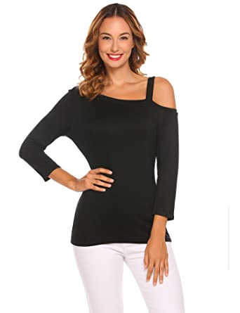 78036b0b4 Amazon.com: Corgy Women Cold ShoulderT Shirt Long Sleeve Irregular ...