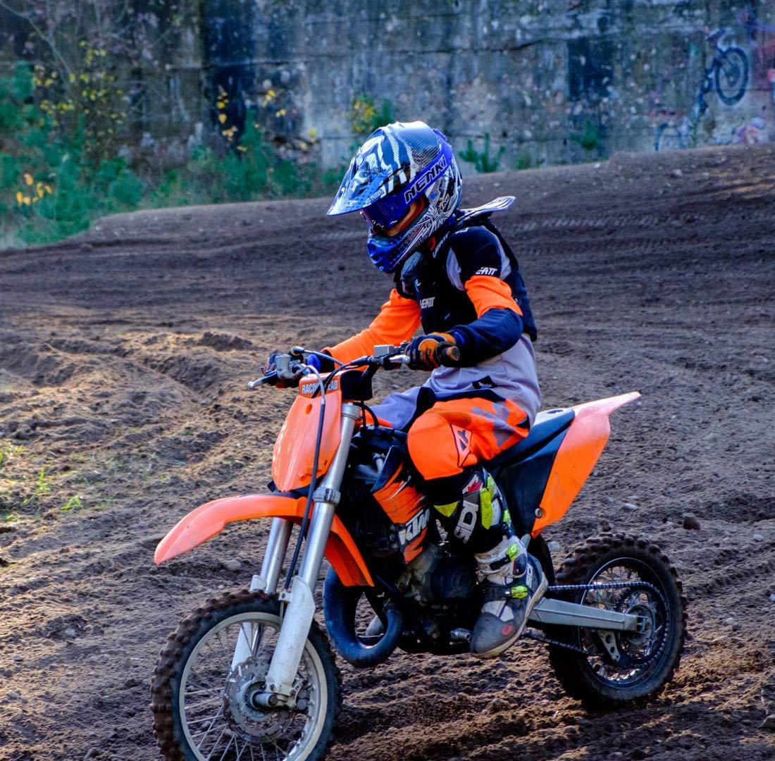 NENKI NK-303 Kinder Motocross Offroad Helm F/ür Kinder Dirt Bike L 53-54CM, Schwarz Gelb