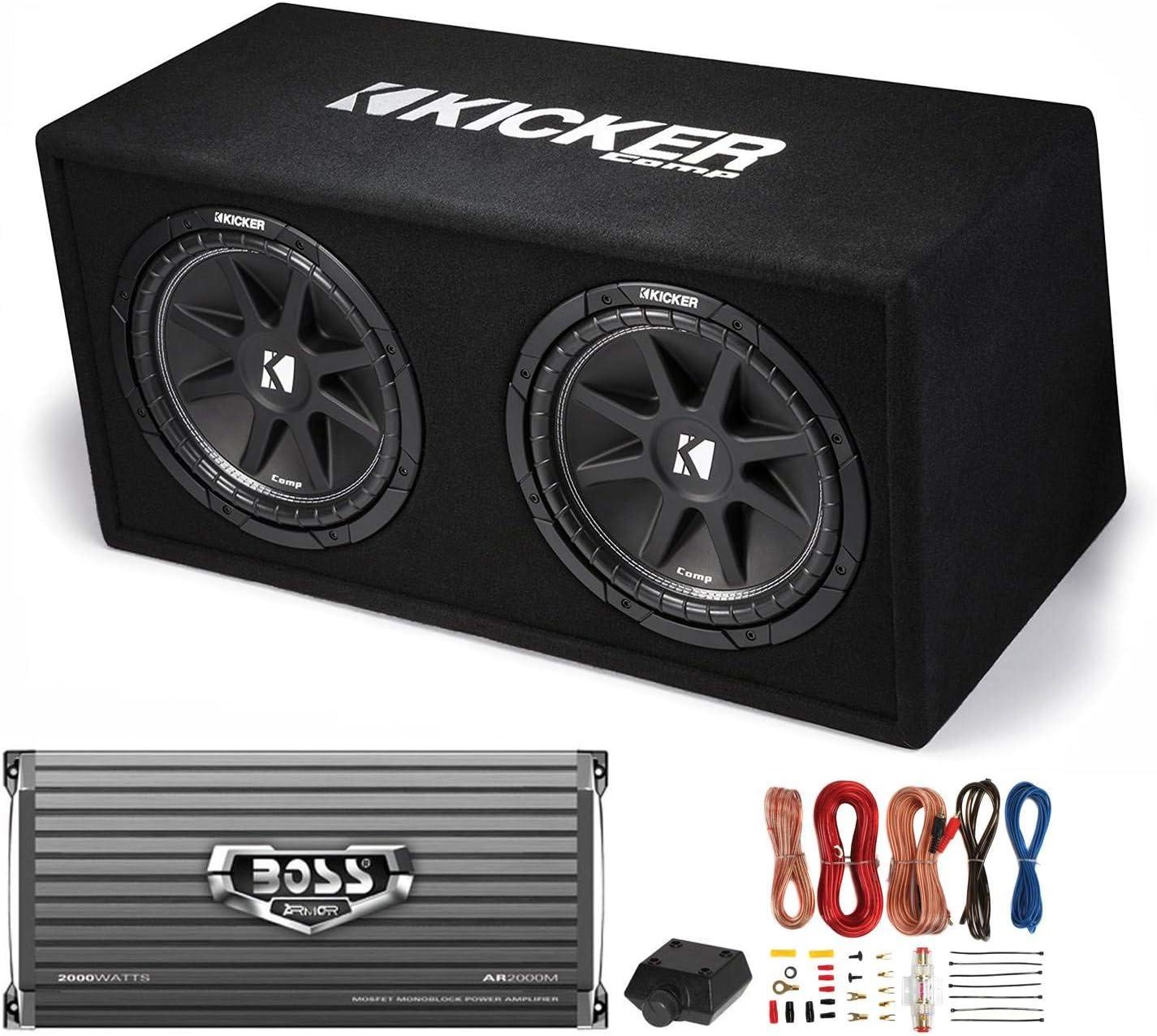 "Kicker DC122 Dual 12"" 600W Car Audio Subwoofers + Box + Boss 2000W Amp + Amp Kit"
