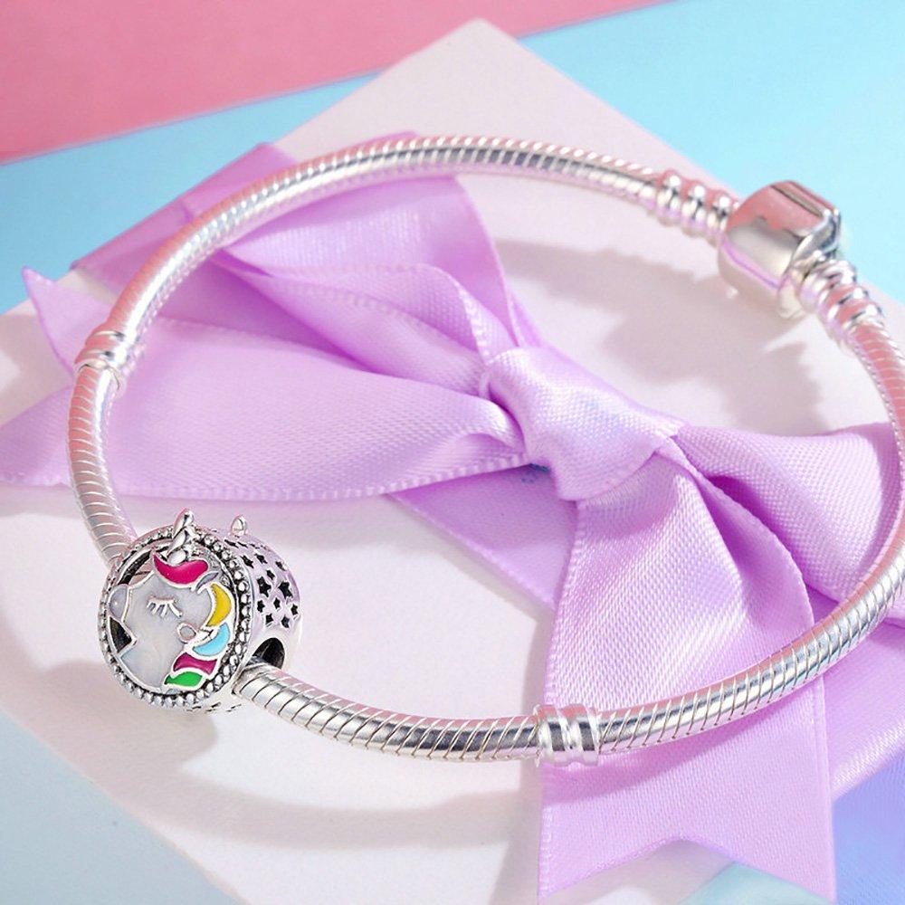 Forever Queen Unicorn Charm for Pandora Charm Bracelet, Round Shape Genuine 925 Sterling Silver Colorful Enamel Bead for Pandora European Bracelets BJ09002 by Forever Queen (Image #5)