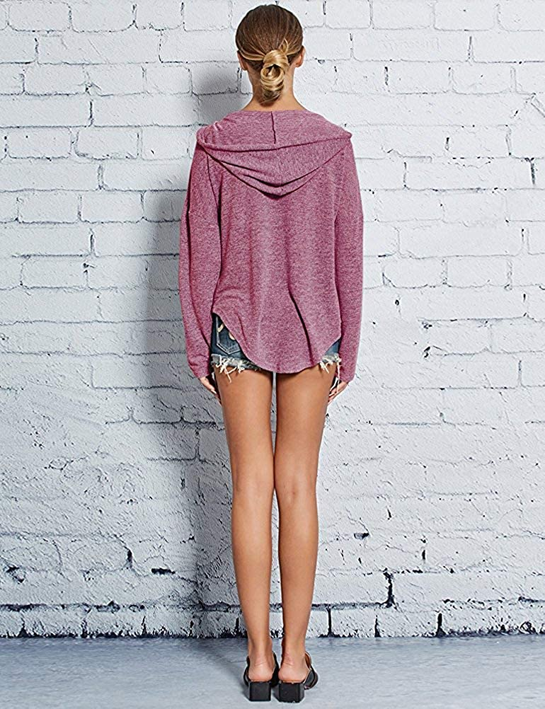 Women Hoodie V Neck Tops Casual Solid Color Loose Pullover Long Sleeve Sweatshirt