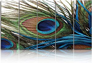 EZON-CH 5 Panels Canvas Wall Art Prints Peacock Feathers Painting Bird Plume Painting On Canvas Modern Artwork Large Poster Ready to Hang for Living Room Bedroom Office Home Decor - 16x40 inchx5