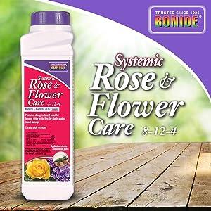 Bonide (BND944 - Systemic Rose & Flower Care 8-12-4, 2-in-1 Indoor Insecticide & Fertilizer Granules (2 lb.)