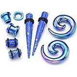 JSDDE Kit 24 Paires Mixtes Acrylique Tunnel Conique + Plug Ecarteur Expandeur + Spirale d'Escargot + Tunnel Plug Bleu à pois blancs 2-10mm