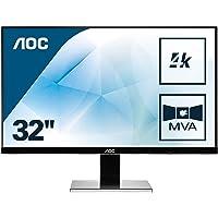 AOC U3277PWQU 80,01 cm (31,5 Zoll) Monitor (VGA, DVI, HDMI, 5ms Reaktionszeit, MVA Panel, DisplayPort, 3840 x 2160, 60 Hz, Pivot, UHD) schwarz
