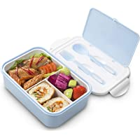 Bento Lunch Box, Kids Lunch Box, Lunch Containers, 1400 ml Leakproof Bento Box with 3 Compartments and Cutlery, Dishwasher/FDA Approved/BPA Free