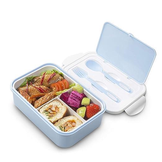 Thousanday Caja Bento para Niños | Lunch Box Azul 2 Cubiertos de ...