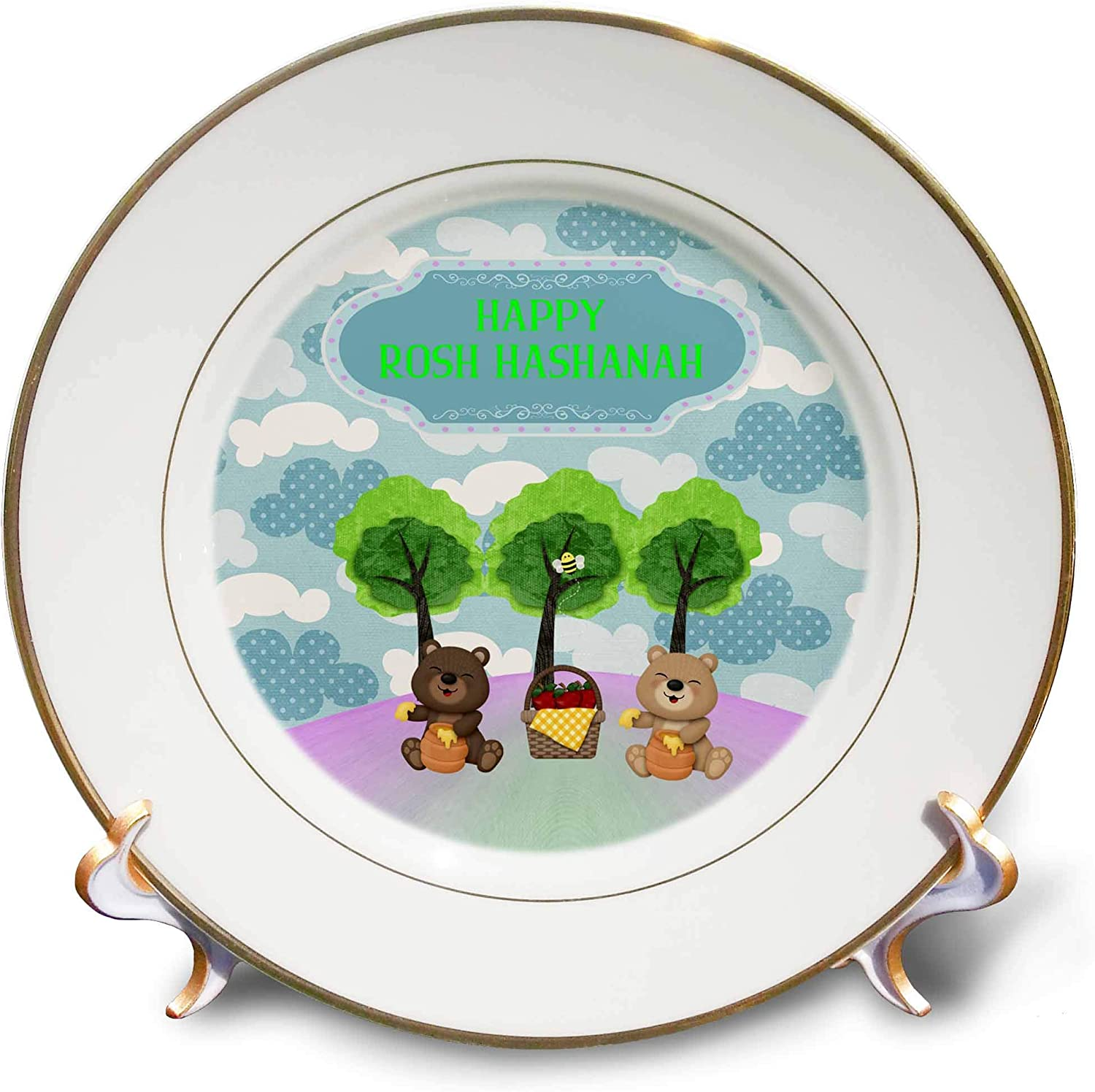3dRose Image of Rosh Hashanah, Bears on Picnic with Honey and Apples - Plates (cp_329120_1)