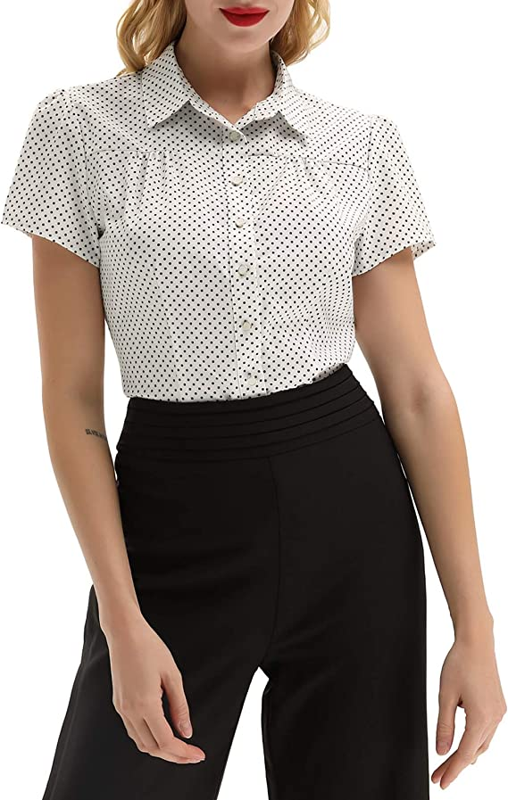 1940s Blouses and Tops Belle Poque Womens Polka Dots Shirt Tops 1950s Retro Short Sleeve Blouse Tops $20.99 AT vintagedancer.com