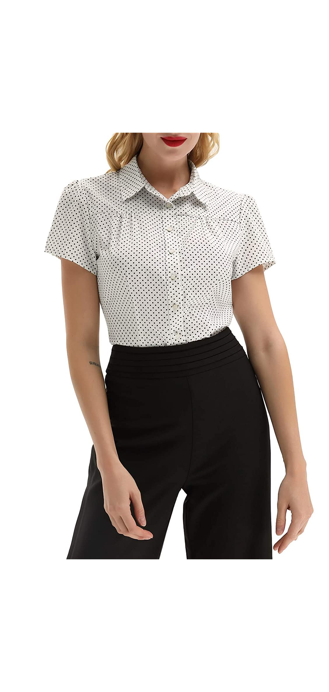 Women's Polka Dot Shirt Tops S Retro Short Tops