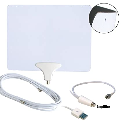 Luxtronic 50 Miles Amplified HDTV Antenna with USB Power Supply and 15 Feet Coaxial Cable -