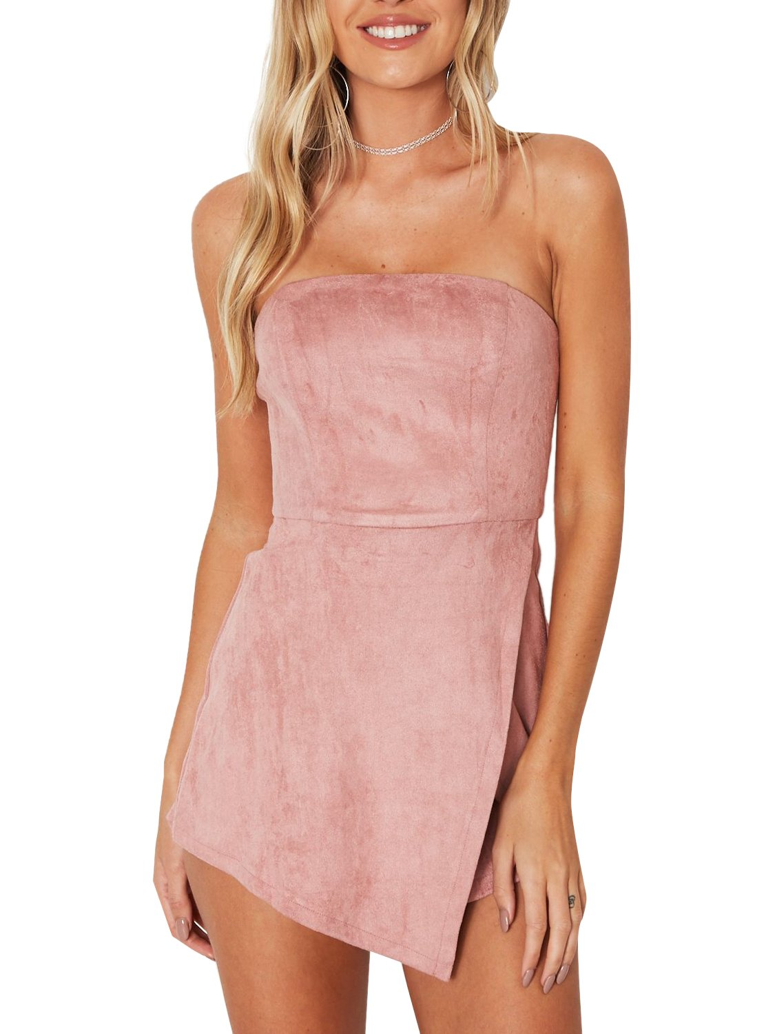 Simplee Women's Leather Suede Sexy Strapless Jumpsuit Romper Party Clubwear Pink 4/6