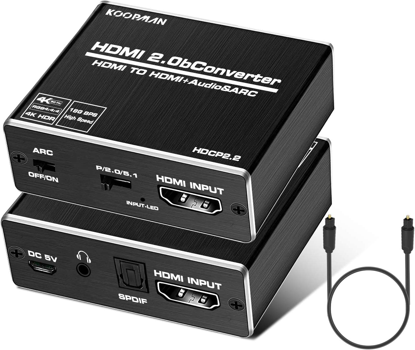 Koopman 4K HDMI Audio Extractor, HDMI to HDMI + Optical Toslink (5.1 SPDIF) + 3.5mm AUX Stereo Audio Converter, HDMI Audio Splitter Adapter, Supports HDMI 2.0b 4K@60Hz HDCP 2. 2 3D Dolby 5.1