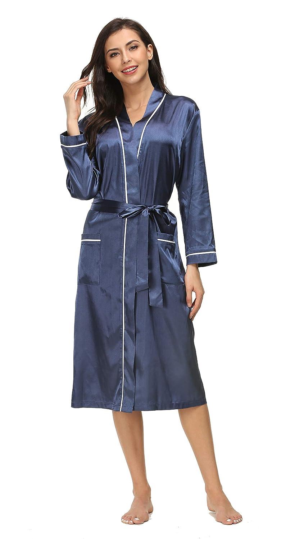 28fe1bc7ad Kiddom Women Pajamas Silky Satin Robe Bathrobe Spa Loungewear Long Sleepwear  with Pockets at Amazon Women s Clothing store
