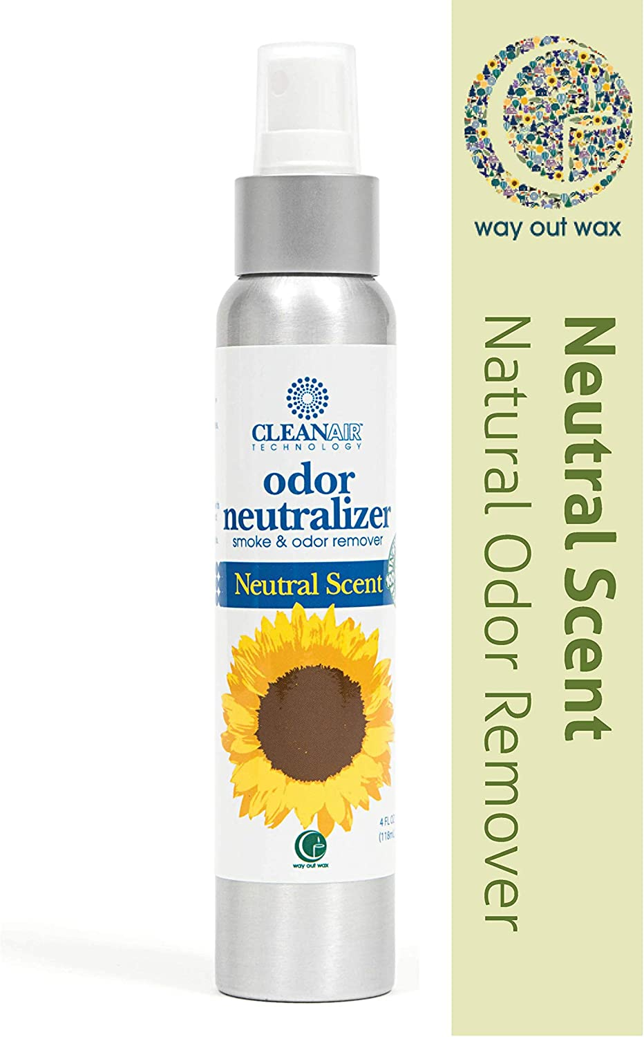 Way Out Wax Odor Neutralizing Spray, Clean Air Neutral Scent Odor Remover (4 oz Spray Bottle); All-Natural Air Freshener and Deodorizer
