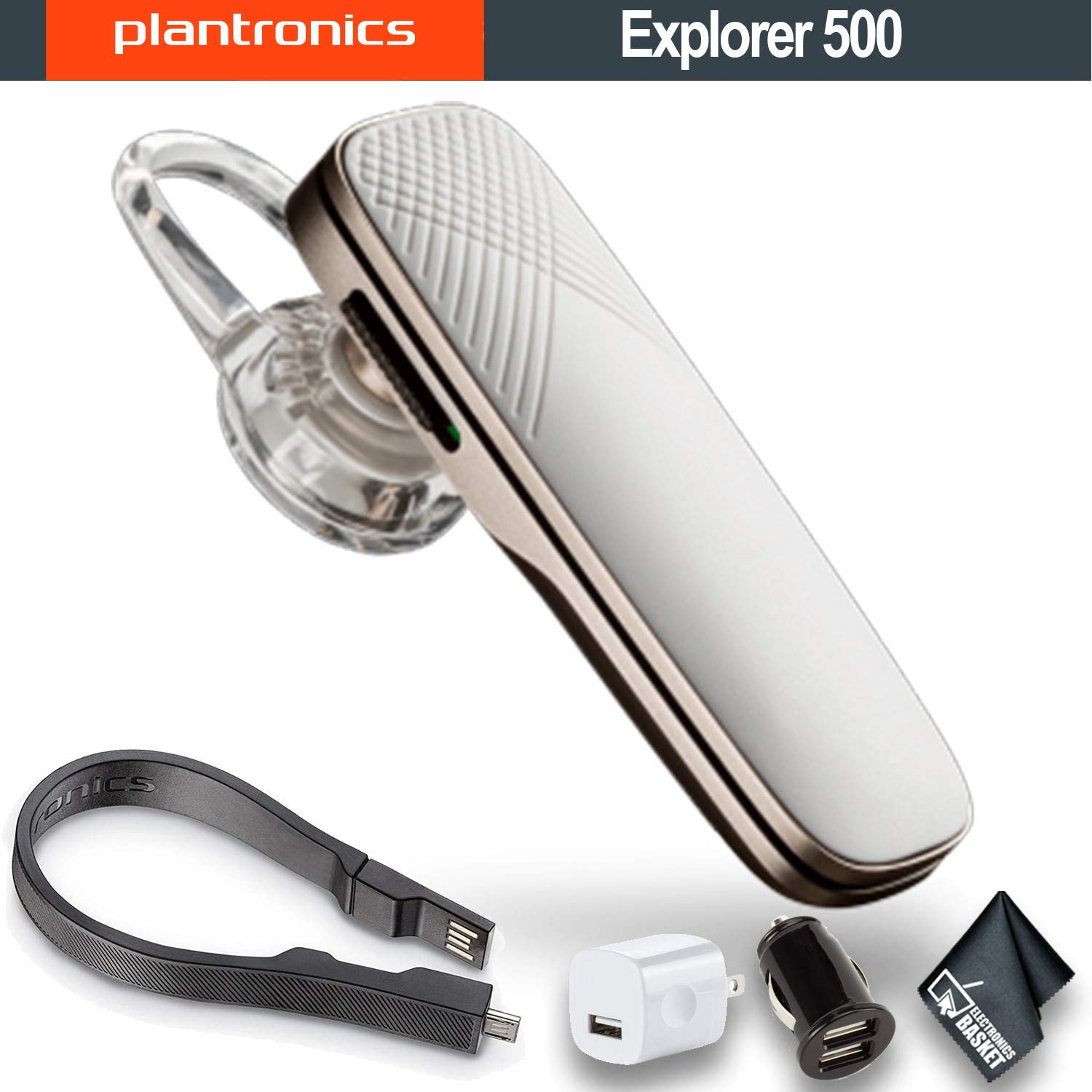 Plantronics Explorer 500 Bluetooth Headset (White) 203622-01 W/Dual USB Car Charger, USB Wall Charger - Essential Bundle