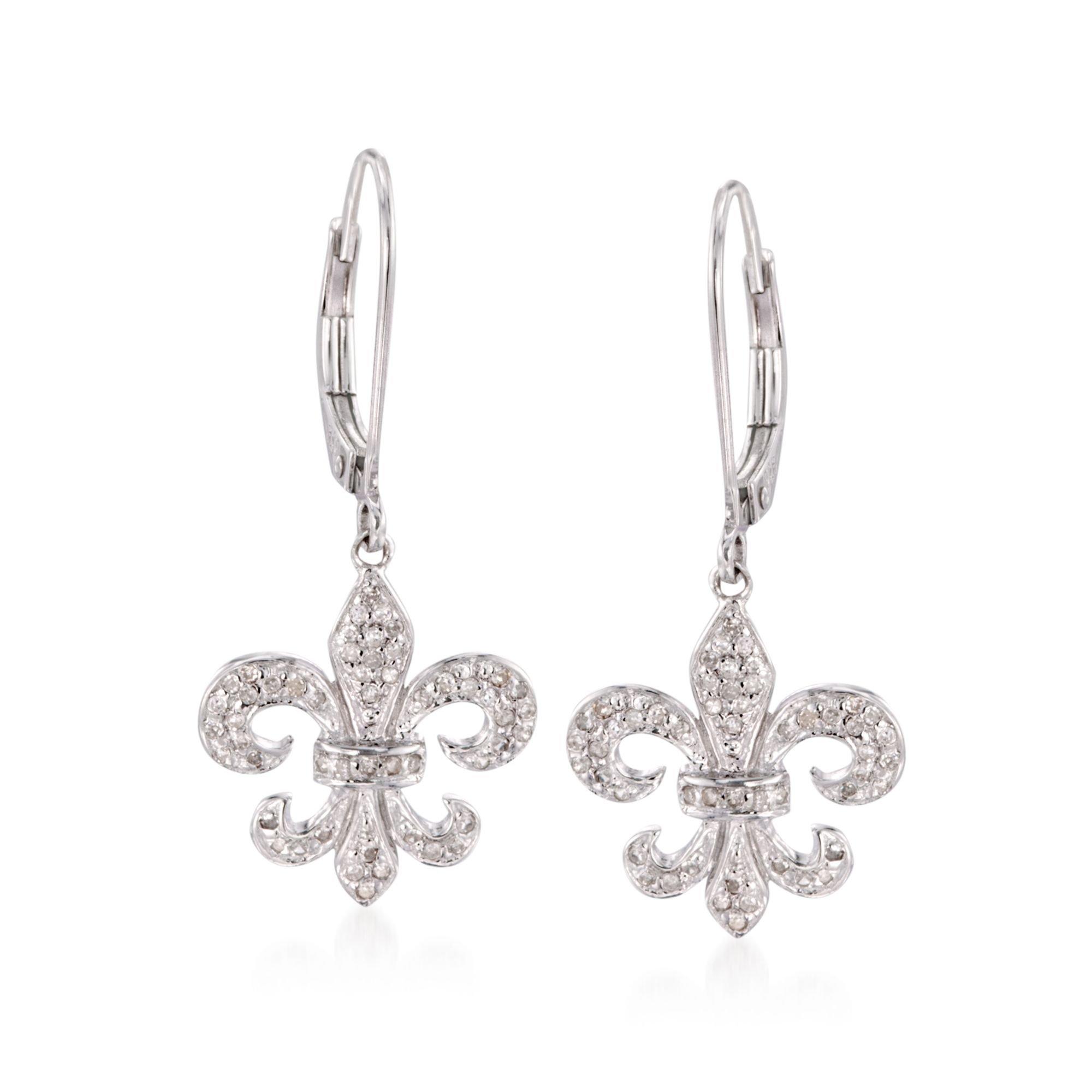 Ross-Simons 0.28 ct. t.w. Diamond Fleur-De-Lis Drop Earrings in Sterling Silver