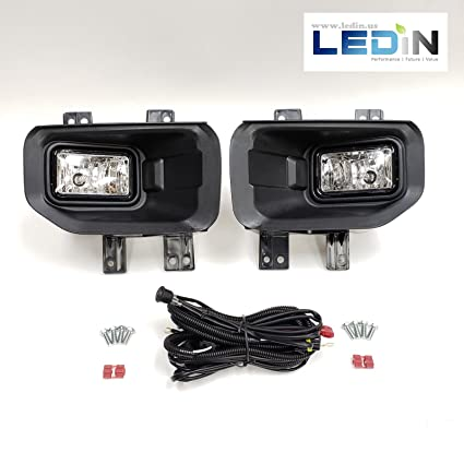amazon com: ledin for 2015-2017 ford f150 f-150 front bumper clear fog  lights with bezel wires switch bulbs: automotive