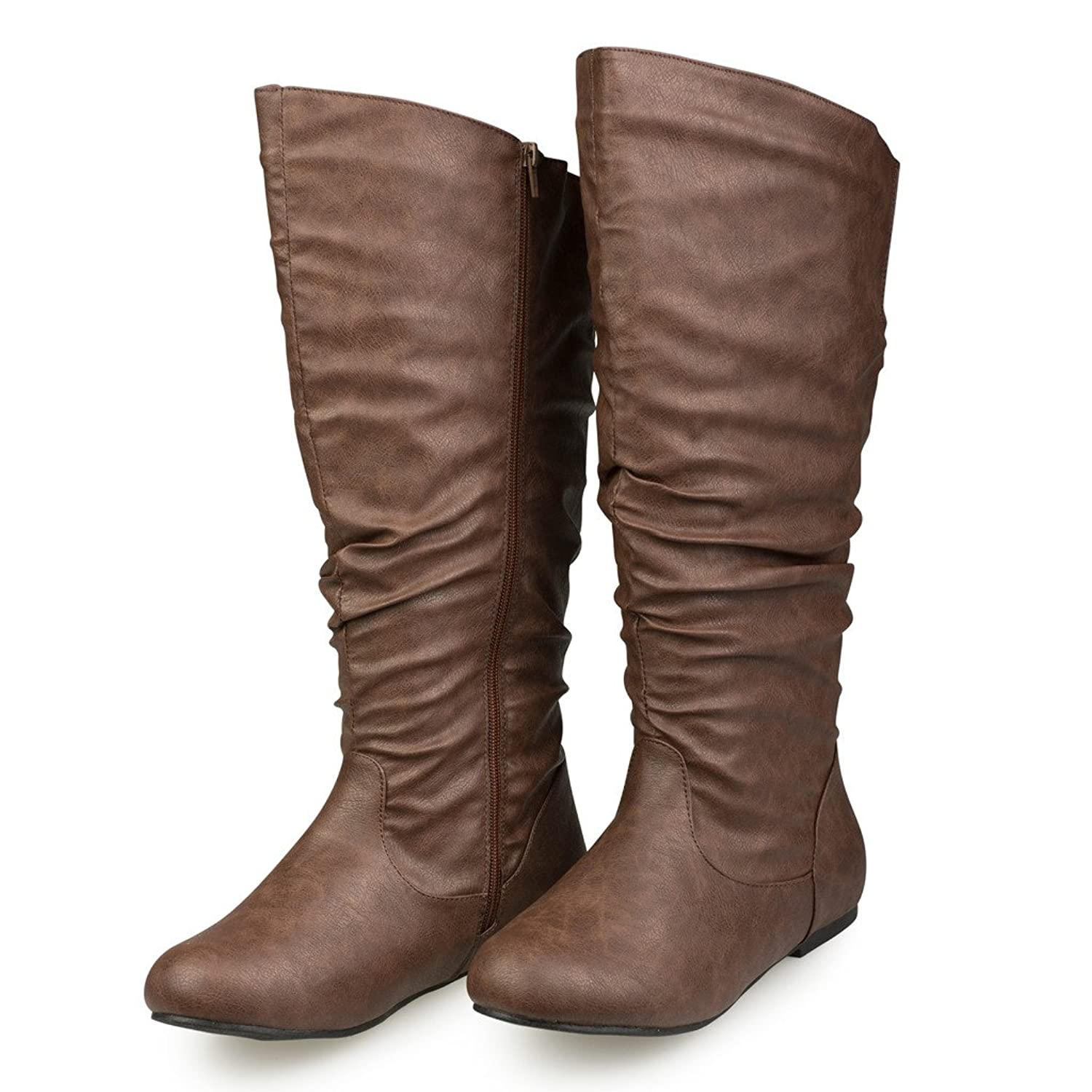 Women's SHELLY Wide Width/Wide Calf Faux Leather Knee-High Scrunch Flat Riding Boot
