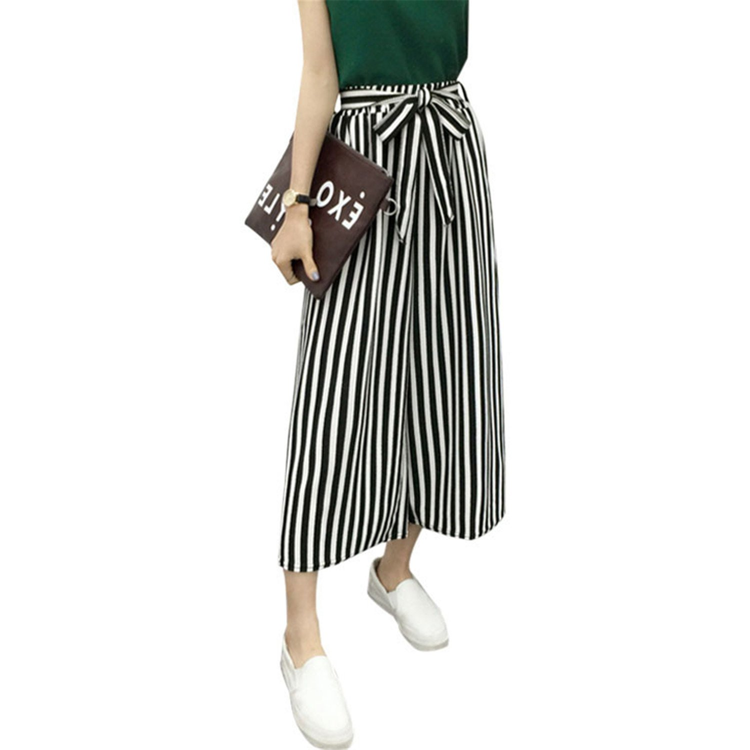 Fashion Summer Hot Selling Ladies Office Trousers Loose Wide Leg Pants Woman High Waist OL Casual Office Pants for Women Fine Black Bars M by Rainlife pants (Image #3)