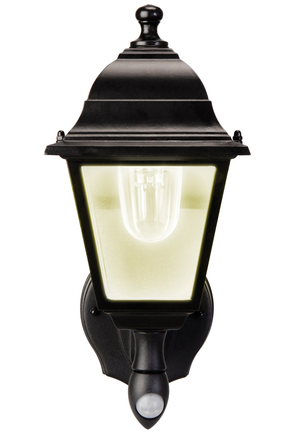 Maxsa Innovations MAXSA Outdoor, Battery Powered, LED Wall Sconce. Motion Activated with Warm White Light, Wireless, Metal & Glass Outdoor Porch, Entrance Light, Black 43319