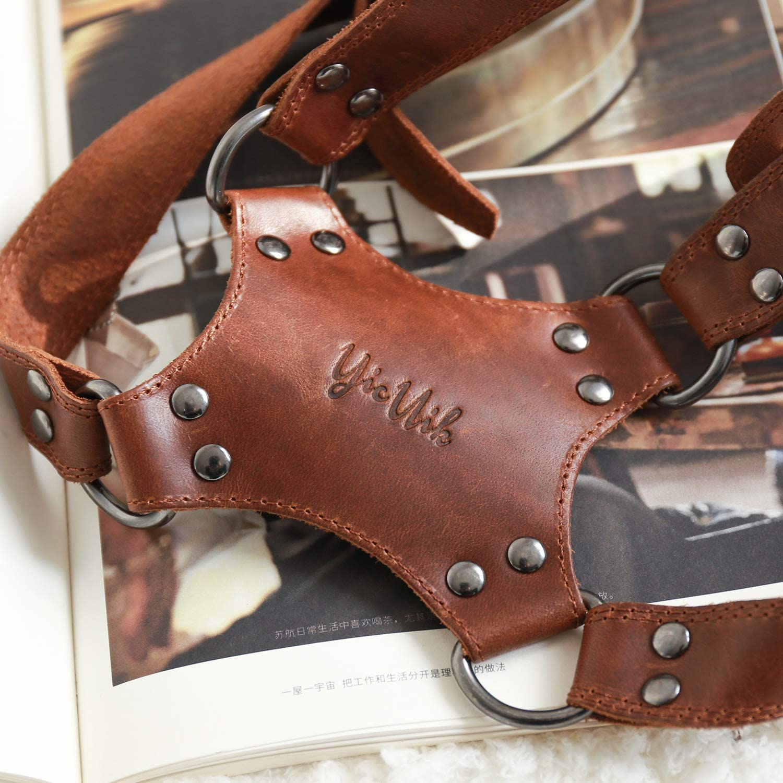 YicUik Adjustable Dual Camera Handmade Retro Leather Strap for DSLR//SLR Universal Harness Women//Men Camera Shoulder Strap for Two Cameras Dark Brown