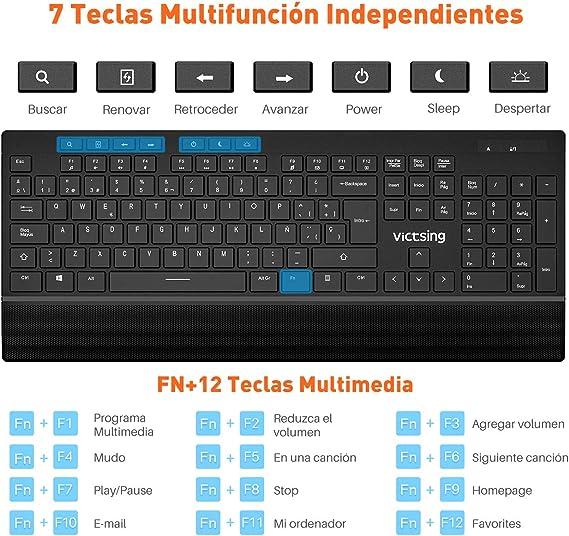 VicTsing Pack de Teclado y Ratón Inalámbricos (QWERTY Español 104 Tecla, USB, 2.4GHz, para PC, Mac, Tableta, Ordenador, Smart TV) (Versión Funcional): Amazon.es: Informática