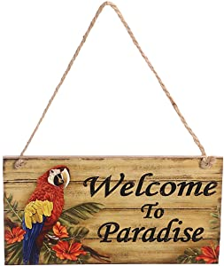 BESTOYARD Welcome to Paradise Wooden Signs Hawaiian Luau Summer Beach Party Hanging Sign Wall Sign Decoration