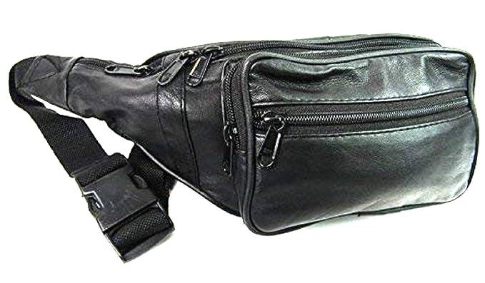 lindos zapatos venta barata del reino unido alta calidad NUEVO Negro Cuero Suave 8 Cremallera 7 BOLSA RIÑONERA ...