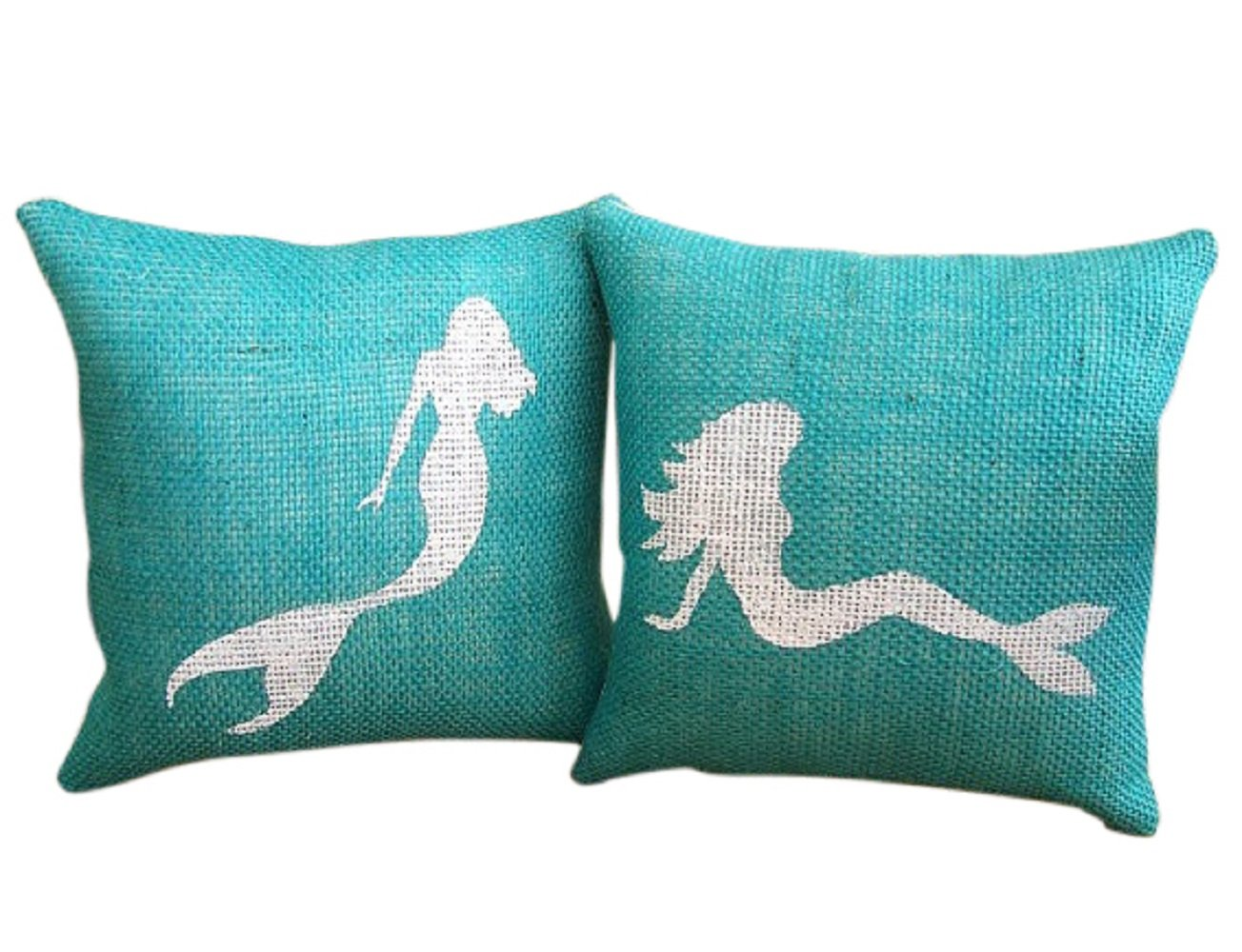 MaxEcor Turquoise Mermaid Burlap 9 inches Cushion Living Room Insert Throw Pillow (Price is 1 Pillow) (9x9, Sit Mermaid)