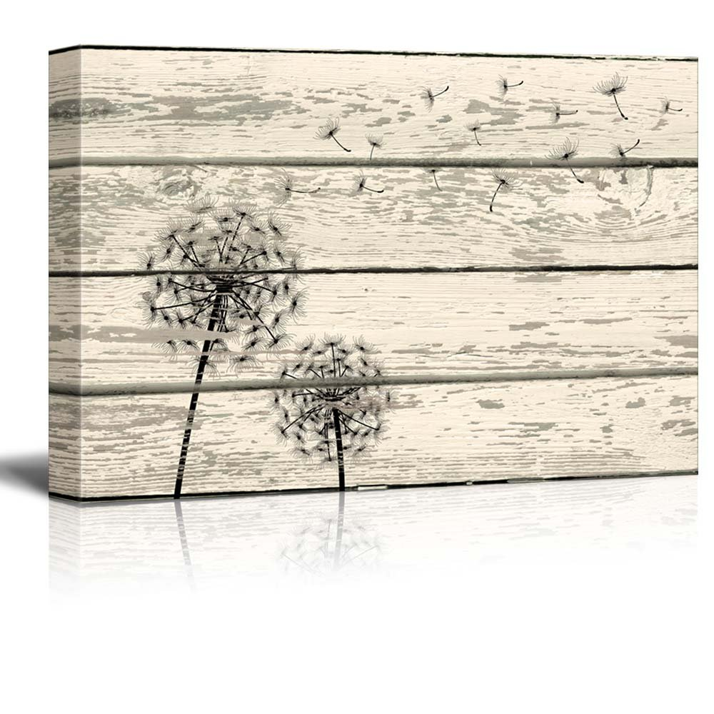 wall26 Rustic Canvas Prints Wall Art - Dandelion Artwork on Vintage Wood Board Background Stretched Canvas Wrap. Ready to Hang - 16'' x 24''