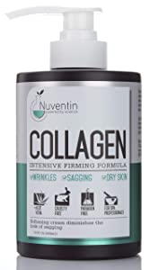 16 Fl Oz Salon Size Collagen Firming Cream. Nuventin Collagen Cream for Wrinkles, Sagging Skin, and Dry Skin. Features Aloe Vera and Green Tea. (15oz)